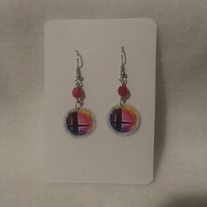 Laminate Smash Bros Logo Gamer Earrings